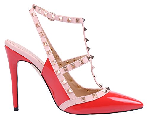 MONICOCO oversize candy boucle t-spangen creux couleurs de chaussures en cuir verni escarpins avec rivets Orangerot Lackleder