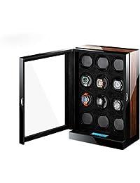 -M&Q- capacidad para 12 relojes Caja giratoria para reloj con LCD Pantalla Táctil, black