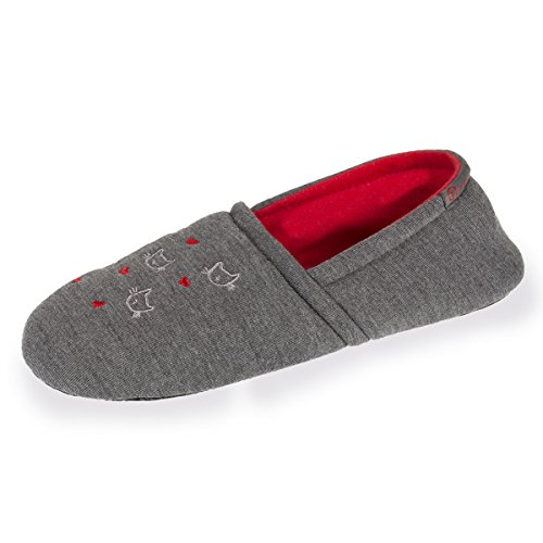 Isotoner Chaussons Slippers Femme Broderies Chat