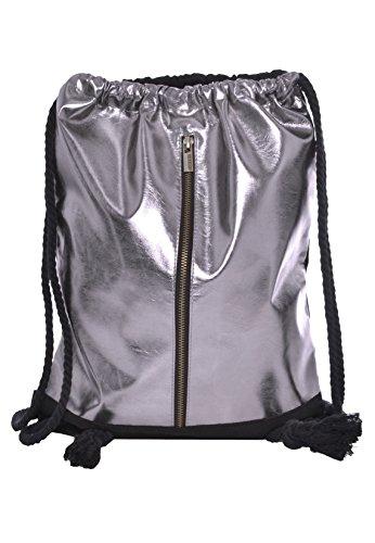Sublevel Metallic Turnbeutel mit Zipper   Gym Bag   Leichter Daypack mit Kordeln dark-silver one size