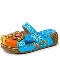 3b21e2400a9fdf Gracosy Sabots Femmes Cuir, Sandales Compensées Été Clogs à Talons  Compensés Mules Plateforme Chaussures Bohème