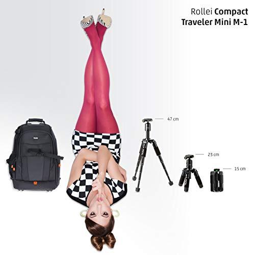 Rollei Compact Traveler Mini M-1 - Kompaktes Mini-Stativ aus Aluminium, mit geringem Packmaß und einem Gewicht von 780g, ARCA SWISS kompatibel, inkl. Kugelkopf und Stativtasche - Schwarz