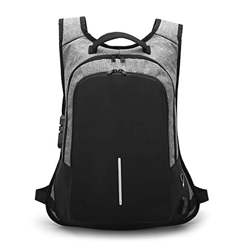 Rucksack, Doppel-Schulter Herren-Computer-Taschen-Sperwort-Schloss Anti-Diebstahl-Tasche,Purple