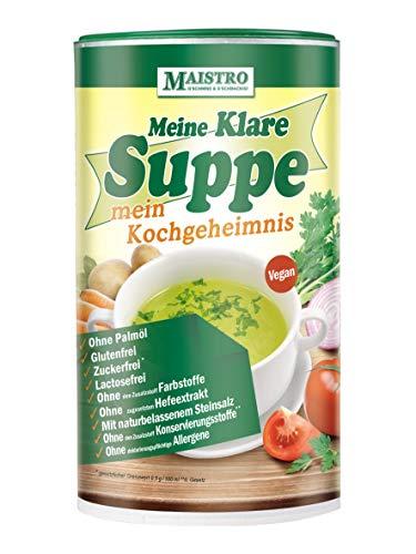 Vegane Gemüsebrühe und Würzmittel, ohne Allergieauslöser, ohne PALMÖL, einfach, schnell und delikat zubereitet. 900g/45Liter Gemüsesuppe mit naturbelassenem Steinsalz. MAISTRO Klare Suppe