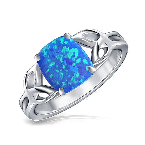 Bling Jewelry Argent 925 Bijoux Triquetra Noeud Celtique Bague Opale bleu synthétique plaqué rhodium