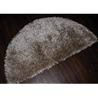 Shaggy 100% Polyester Hand Tufted Shaggy Rug 60cm x 120cm Half Moon In Beige Soft to Touch