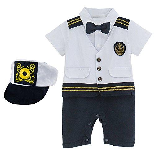 Mombebe bambino ragazzi capitano halloween costume pagliaccetto con cappello (capitano, 9-12 mesi)