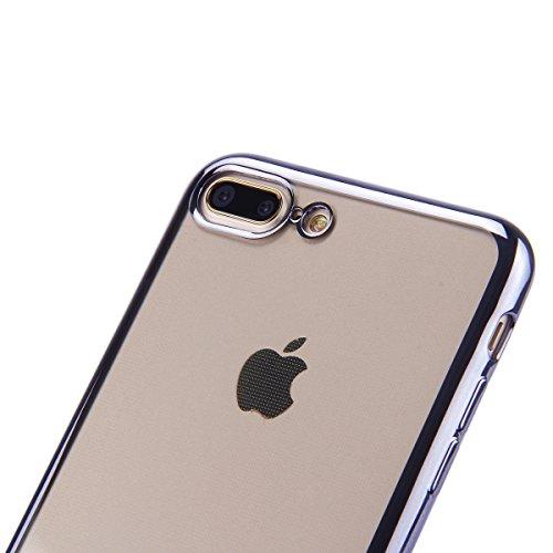 iPhone 7 Plus Hülle,iPhone 7 Plus Silikon Schutz Handy Hülle Kratzfeste Rose Gold Tasche Handyhülle [Mit 1 X Frei Stylus Stift],SainCat iPhone 7Plus Gel Case Weiche Glitzer Bling Diamant Schutzhülle m Überzug-Grau