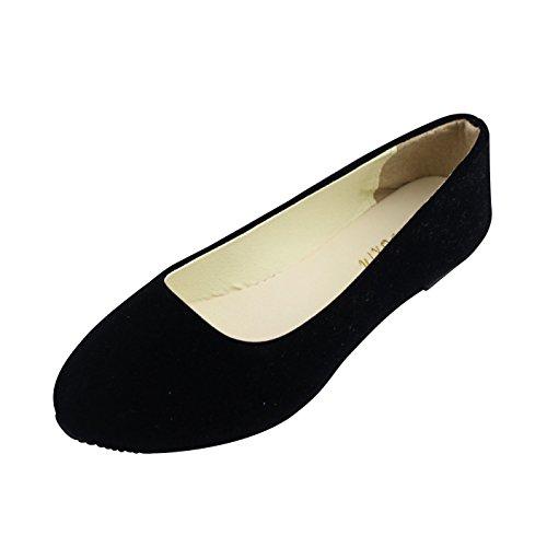 Mujer Bailarinas Básicas de Piel Sintética Zapatos Planos Ocio y Moda,Negro,EU 43