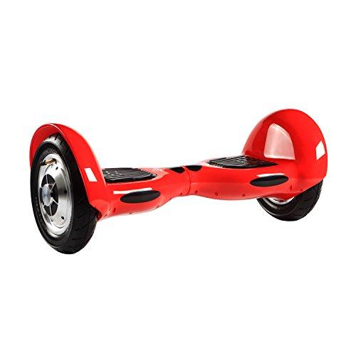 MegaWheels 10' Hoverboard Self-Balancing Scooter Motor 700W Patinete Eléctrico Monopatín con Bluetooth, LED y Blosa Gratis (Rojo)