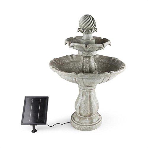 Blumfeldt Vogelsbrunn • Fuente Solar Exterior Estilo Barroco • Bebedero para pájaros para jardín • Potente Bomba de Agua de 3 W máximo 250 L/h • Batería • Interruptor • Imita a hormigón