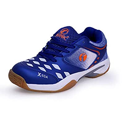 Feroc Xega Men's White Blue Faux Leather Badminton Shoes (3)