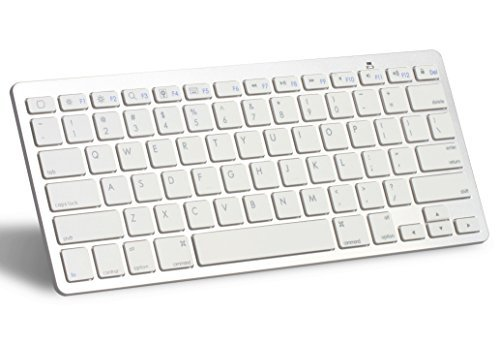 OMOTON® Ultra-Slim Bluetooth Keyboard for Apple iPad Air (iPad 5), iPad 6, iPad Mini 3/2/1, iPad 4/ 3/ 2, iPhone 6, iPhone 6 plus, Samsung Galaxy Tabs, Galaxy Notes, Google Nexus 9, Nexus 7 and other Bluetooth Enabled Devices, For Apple, White