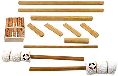 massagebyheat Massage-Set aus Bambus mit Fuß