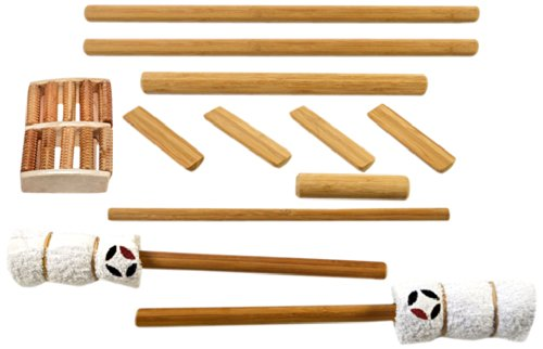 Massagebyheat Bamboo Massage stick set con piede massaggio-Confezione da 12pezzi