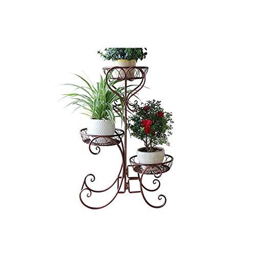 FTING Soporte de Flores, Sala de Estar Interior y Exterior Bandeja Europea Estante de Flores Hierro de múltiples Capas Balcón Maceta Estante 52 * 28 * 75cm (Color : Bronce)