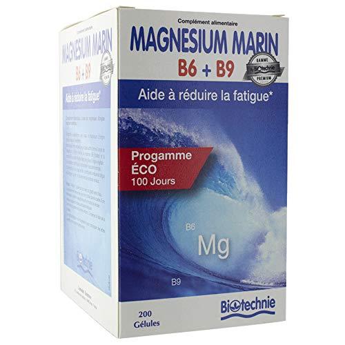 Magnésium marin, vitamine B6 et B9. Boîte de 200 gélules