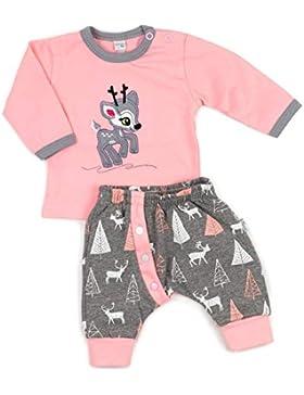 Baby Set Shirt + Hose rosa grau | Motiv: Reh | Marke: Koala Baby | Babyset 2 Teile mit Rehkitz für Neugeborene...