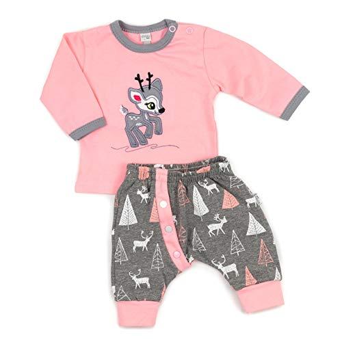 Koala Baby Baby Set Shirt + Hose rosa grau | Motiv: Reh | Babyset 2 Teile mit Rehkitz für Neugeborene & Kleinkinder | Größe: 9 Monate (74)