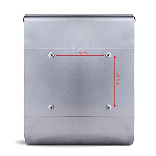 BANJADO Design Briefkasten mit Zeitungsfach, 2 Schlüssel, A4 Einwurf, silber pulverbeschichtet, mit Motiv WT Muster Herzen - 6