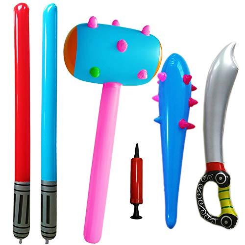 SWZY Inflatable Props Set -Aufblasbare Sticks Piraten Schwert Stick Star Wars Lichtschwert Schwert Stick Höhlenmensch Keule Kinderspielzeug Urmensch Cosplay (Zufällige Farbe)