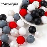 Silikonperlen Schnullerkette Selber Machen Baby Spielzeug Zahnen Silikon Perlen Beißring Diy Silikon-Perlen-Kit DIY-Dummy-Clips Kinderkrankheiten Halskette Armband (Schwarz Rot)