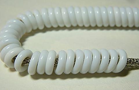 14g (40) x 10(mm) Grand Trou Perles Lien connecteur Spacer O en verre tchèque perles pour en cuir blanc–opaque–W005