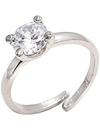 Geode Delight Cz Solitaire Silver Overlay Adjustable Ring For Girls & Women