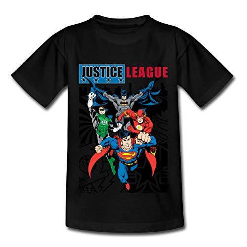 Spreadshirt DC Comics Justice League Comic Cover Kinder T-Shirt, 98/104 (3-4 Jahre), Schwarz