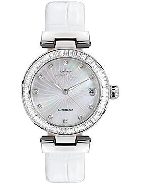 Hindenberg 360-H Grand Lady Stahl perlmutt mit Lederarmband Damen Automatik Armbanduhr