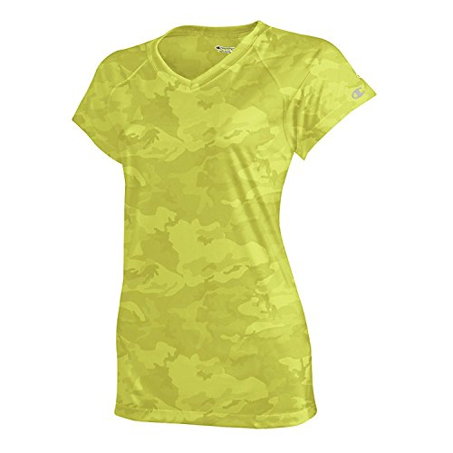 Champion Women's Essential Double Dry V-Neck Tee_Safety Green Camo_Medium (Camo V-neck Tee)