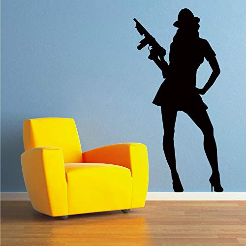 Wall Stickers for Kids Rooms Home Decoration Accessories Sexy Gangster Woman Vinyl Sticker In Wall Room White 42 X 85 cm -