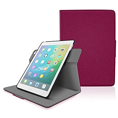iPad Air 2 Case - roocase Orb System Folio 360 Dual View Leather Case Smart Cover with Sleep / Wake Feature for Apple iPad Air 1 / Air 2, Magenta - Patented Complete Lifestyle