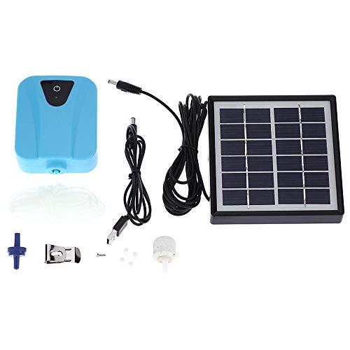 AUOKER - Bomba de oxígeno Solar, aireador de Peces, Bomba de oxígeno USB, Bomba de Aire para acuarios y emergencias de Salida de energía doméstica, Muy silenciosa, con Manguera de oxígeno de 1 m