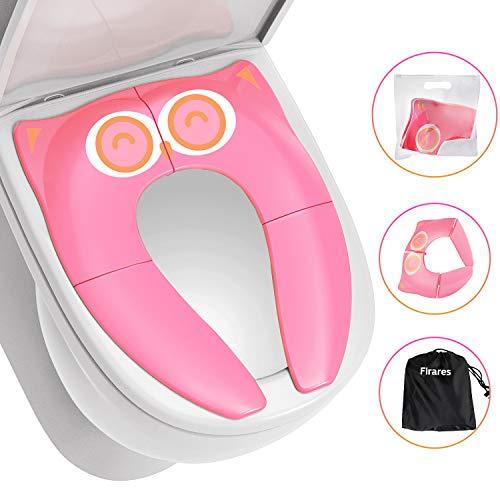 Firares comodo riduttore wc per bambini - pratico robusto stabile il water riduttore per viaggio,vacanza,fuori casa, potty training di casa, facile portare, igienica con portare la borsa - rosa