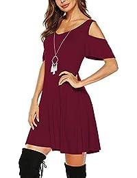 Beluring Tunika Kleid Damen V-Ausschnitt Cold Shoulder T-Shirt Kleider mit  Taschen 5460d210aa