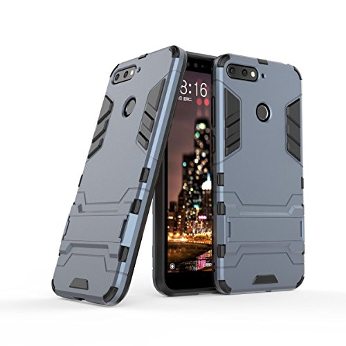HDRUN Huawei Honor 7A Hülle, 2 In1 Kratzfeste Handyhülle Hybrid TPU Silikon Bumper Schale PC Doppelschichter Schutzhülle Standfunktion für Honor 7A Case Cover, Dunkelblau