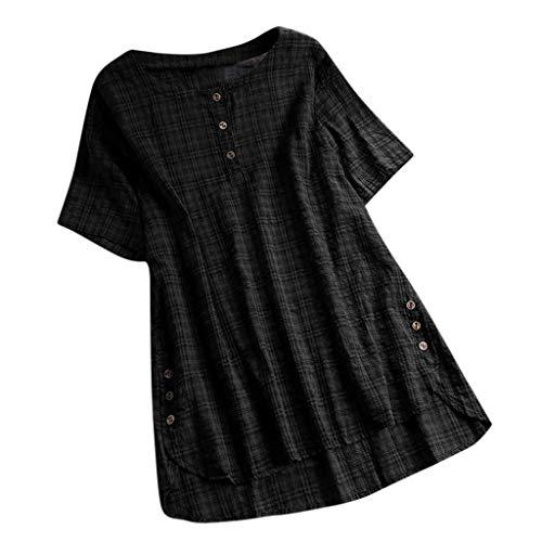QIMANZI Übergröße Damen Lange Ärmel Kaftan Ausgebeult Taste Bettwäsche aus BaumwolleTunika Bluse(E Schwarz,2XL) -