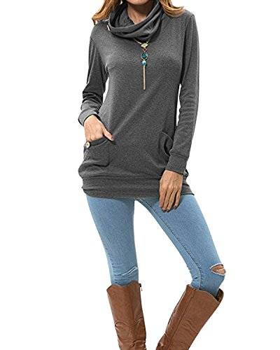 SOLERSUN Flared Tunika Tops, Damen Button Cowl Neck Pullover Tops Langarm Pullover Sweatshirts mit Knöpfen Grau S - Button Cowl Neck Pullover