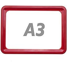 PrimeMatik - Marco para letreros y carteles A3 427x304mm rojo para rotulación
