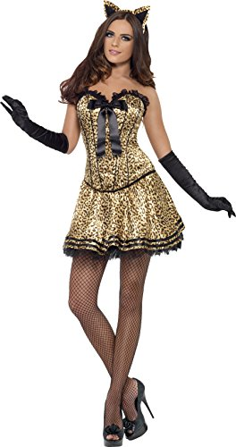 Leopard Kostüm Kitty - Smiffys, Fever, Sexy Kitty Kostüm, Verstärktes Korsett und Tutu-Rock, Größe: L, 42326