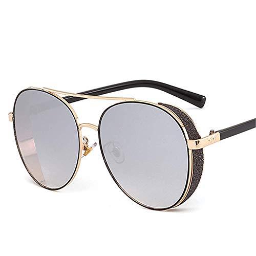 Lisa旗舰店 Sonnenbrille Metallrahmen Runde Sonnenbrille Europa und Amerika Tide Mirror Sun Frog Mirror Glasses,6