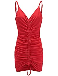 ad9da6077f3a YYD  Quotidien Robe Décontractée Femme Couleur Pure V-Cou Drawstring Slim  Sexy Sling Dress