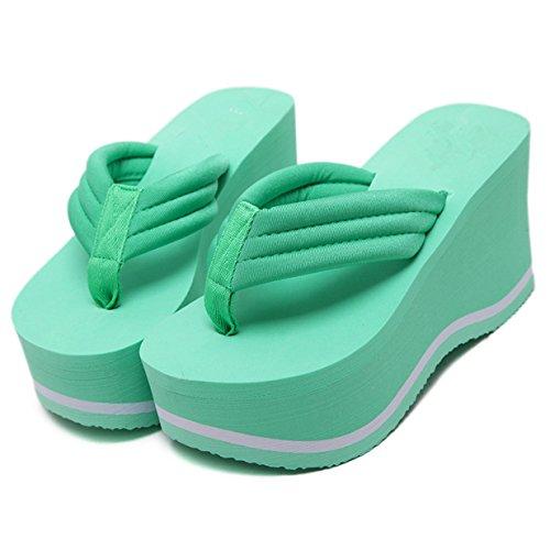 Lalang Damen Plattform Keilabsatz Zehenriemen Sommer Urlaub Flip Flops Sandalen Grün