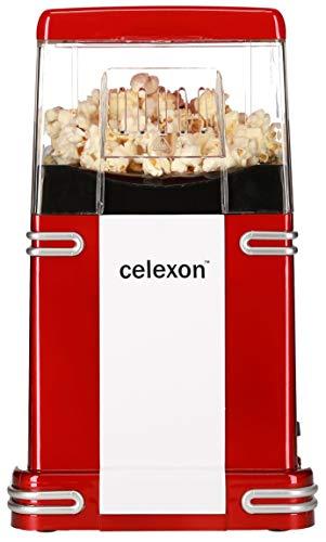 celexon CinePop CP250 Popcorn-Maschine - 22x17,5x28,5cm - Gewicht: 1,3kg - rot/Retro-look - ohne Öl/fettarm - Popcorn-Maker mit Heißluft