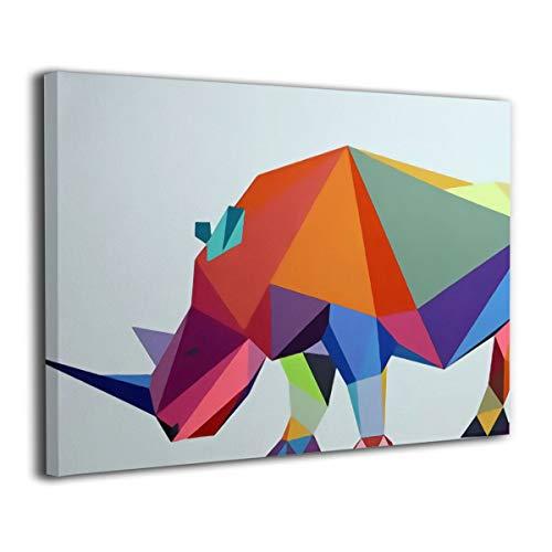 ShuciYAO Low-Polyrashorn Leinwand-Kunstdruck (30 x 20 cm), modernes Gemälde auf Leinwand, dekoratives Kunstwerk, Wanddekoration für Zuhause, Galerie verpackt, zum Aufhängen