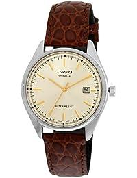 CASIO MTP-1175E-9A - Reloj con correa de cuero, para hombre, color dorado y marrón