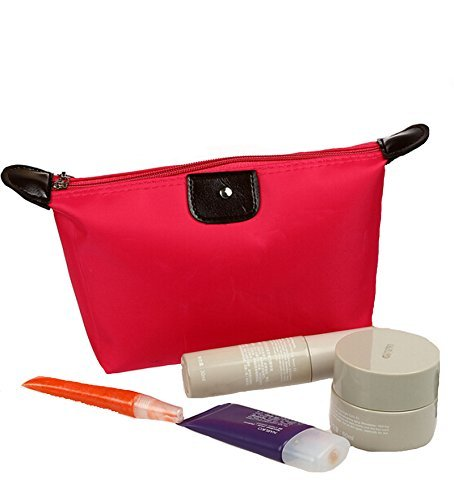 Ducomi® Pochette Trucchi da Borsa in Nylon Impermeabile - 18 x 12 x 7 cm (Red)