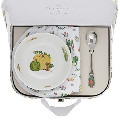 DEGRENNE 231758 Les Amis du Potager Valisette avec coupelle + cuillère à café + Bavoir, Multicolor