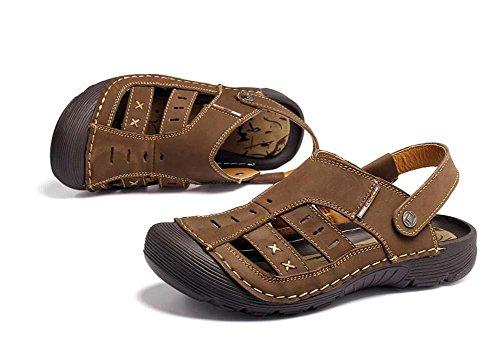 Onfly Männer Jungen Geschlossene Zehe Leder Beiläufig Sandalen Hausschuhe Rutschfest Atmungsaktiv Gehen Draussen Sandalen Wasser Schuhe Lässige Sneakers Strandschuhe Athletische Sandalen deep brown